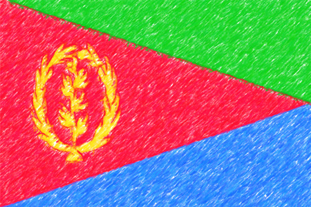 Flag of Eritrea background o texture, color pencil effect. Stock Photo