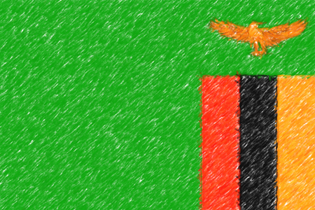 Flag of Zambia background o texture, color pencil effect.