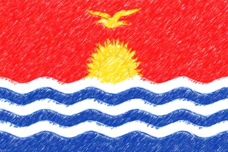 Flag of Kiribati background o texture, color pencil effect. Stock Photo