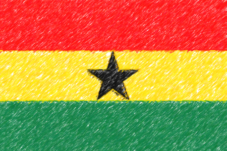 Flag of Ghana background o texture, color pencil effect.