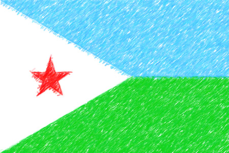 Flag of Djibouti background o texture, color pencil effect. Stock Photo
