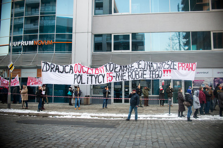 amnesty: Wroclaw, POLAND - JANUARY 22, 2017: Demonstration organized by KOD in Wroclaw against PIS government