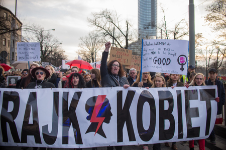 Wroclaw, Poland, 2017 08 03 - Womens protest Strajk Kobiet on Womans Day against Polish government PIS,  on 08,03,2017 in Wroclaw, Poland Editorial