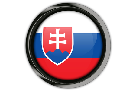 Slovakia flag in the button pin Isolated on White Background