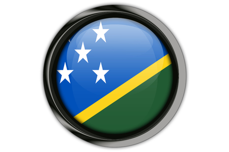 Solomon Islands flag in the button pin Isolated on White Background
