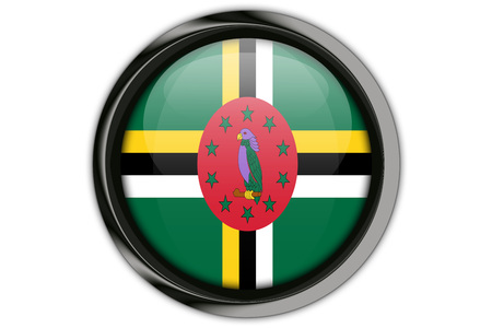 Dominica flag in the button pin Isolated on White Background
