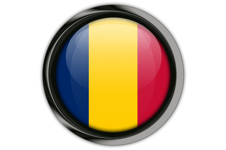 Chad flag in the button pin Isolated on White Background