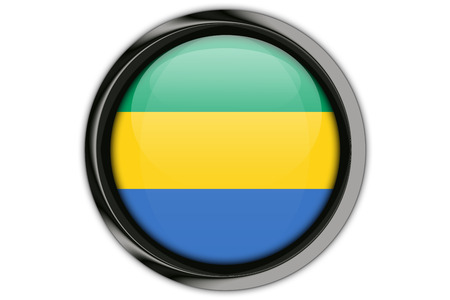 Gabon flag in the button pin Isolated on White Background