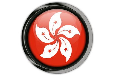 Honk Kong  flag in the button pin Isolated on White Background