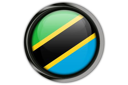 tanzania: Tanzania  flag in the button pin Isolated on White Background Stock Photo