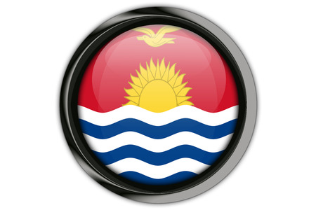 Kiribati  flag in the button pin Isolated on White Background