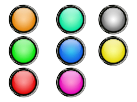 colored buttons with metallic frames and shadows