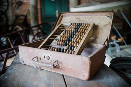 close up on old vintage Old abacus in workshop