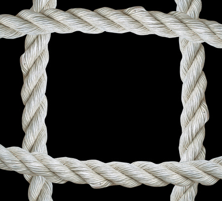 fasten: Close up on white rope frame isolated on  black background Stock Photo