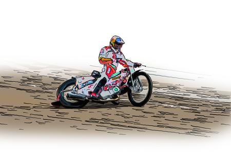스피드 웨이 경주에 빠른 오토바이의 그림