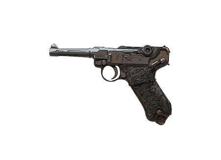 Close up on old vintage illustration of pistol on white background Stock Photo