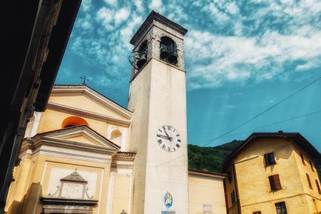 close up on traditinial Italia building - church in Gardone Val Trompia Stock Photo