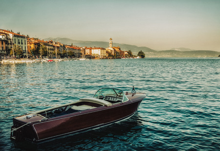 Close up on the boat in the Garda Lake, Salo, Italy Stock Photo
