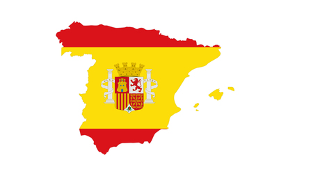 madrid spain: CLose up on Spain flag on white background