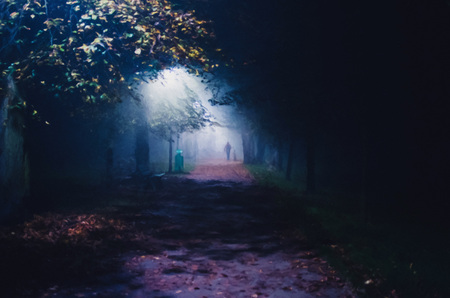 illustration of fog in the park at night, soft focus, one person Stock Photo