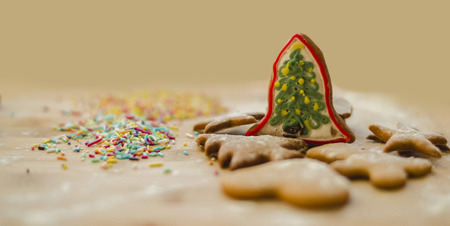 Close up on colorful christmas tree gingerbread cookies