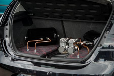 close up on  car speed upgrade in the truck Standard-Bild