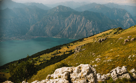 panoramic view from Monte Baldo in Italy Stock Photo