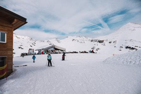 23.02.2017 Nebelhorn, Germany, people on ski resort