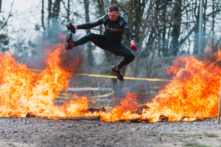 WROCLAW, POLAND - APRIL 8; 2018: Runmageddon - extreme competition in running with many obstacles Editorial