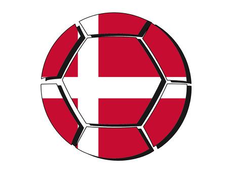 Denmark flag on football ball, 2018 Championship