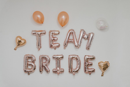 inscription on the wall - team Bride, bachelorette party Imagens