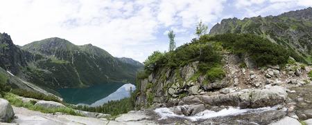 Panorama viem on Morskie Oko from the to the Czarny Staw, Tatra, Poland Фото со стока
