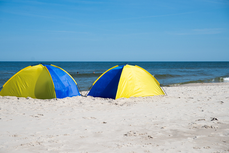 close up on tents on the beach