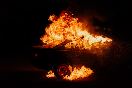 political protests, burning cars on the street Imagens