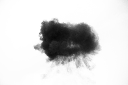 black smoke or cloud isolated on white background