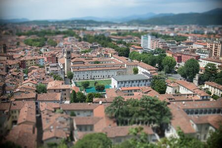 View from the castle Brescia Citadela on old town, tilt shift effect