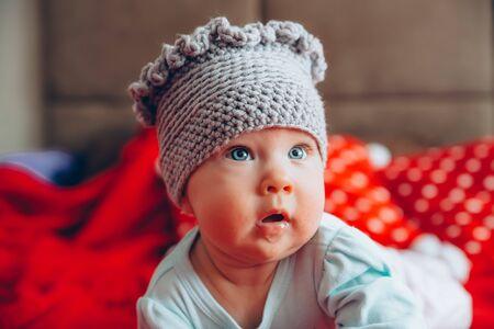 childrens fashion - hand-made woolen hat Stok Fotoğraf