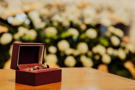 wedding rings in the church Stock Photo