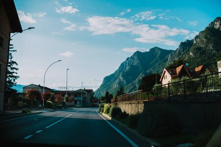 driving a car through Lobardy in Italy, Lake Iseo