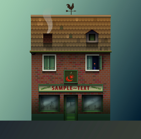 house front: cute realistic shop, store or cafe, restaurant