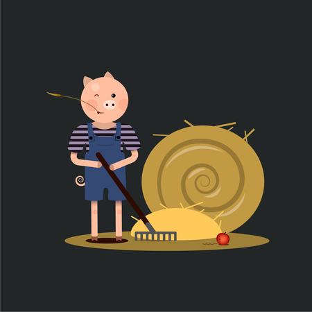 pitchfork: piggy farmer with a pitchfork and a sheaf of hay