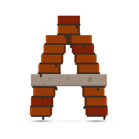 lettre alphabet: vecteur brique lettre A symbole isol� Illustration