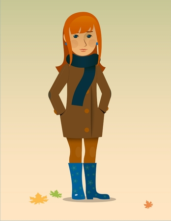 wet girl: Vector illustration of a pretty girl in rubber boots autumn Illustration