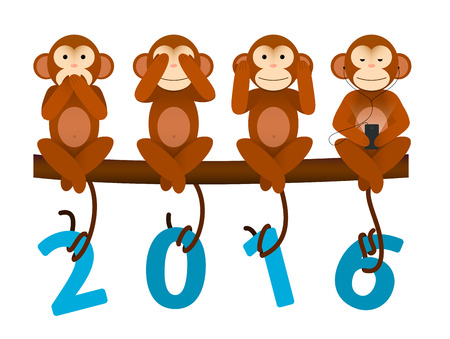 happy new year: New Year greeting card with no see no hear no speak Monkey for year 2016