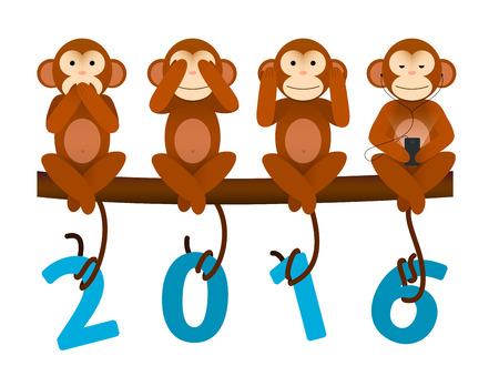 monitos: Nueva tarjeta de felicitaci�n de a�o sin ver ni o�r ni hablar del mono para el a�o 2016 Vectores