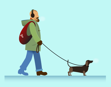 cold weather: illustration bearded man walking with dachshund dog, cold weather