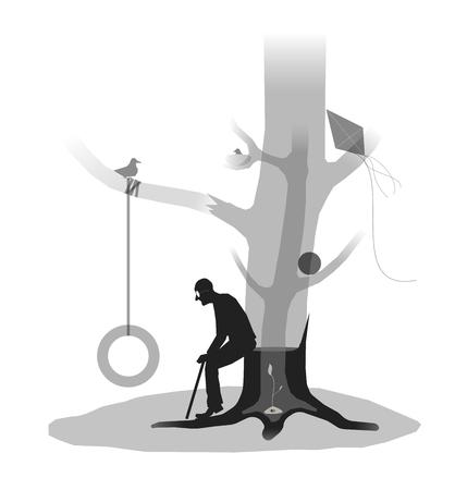felled: old age loneliness memories tree of life, felled tree