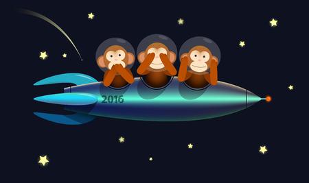 raumschiff: siehe nein nein sprechen keine h�ren drei weisen Affen auf dem Raumschiff Rakete 2016 guten Rutsch ins Neue Jahr-Gru�karte