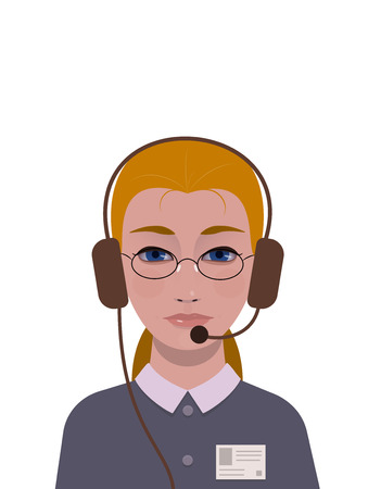 optional: support girl with id badge, optional glasses and headphones