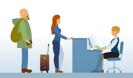 departure: airport departure area or hotel reception with passengers or clients, tourists